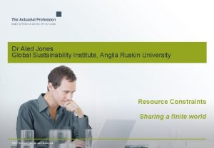 Dr Aled Jones Global Sustainability Institute Anglia Ruskin