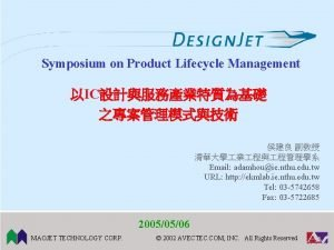Symposium on Product Lifecycle Management IC Email adamhouie
