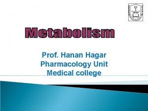 Prof Hanan Hagar Pharmacology Unit Medical college By