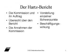 Der HartzBericht Die Kommission und Vorstellung ihr Auftrag