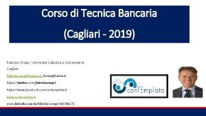 Corso di Tecnica Bancaria Cagliari 2019 Fabrizio Crespi