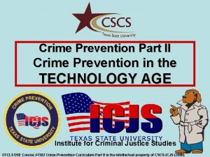 Crime Prevention Part II Crime Prevention in the