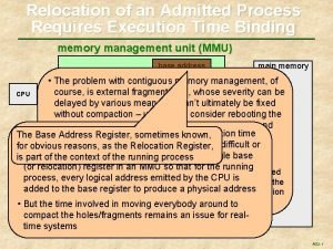 Relocation of an Admitted Process Requires Execution Time