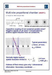 Multi wire proportional chambers Multi wire proportional chamber