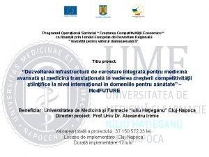 Programul Operaional Sectorial Creterea Competitivitii Economice cofinanat prin