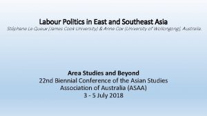 Labour Politics in East and Southeast Asia Stphane