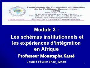 Module 3 Les schmas institutionnels et les expriences