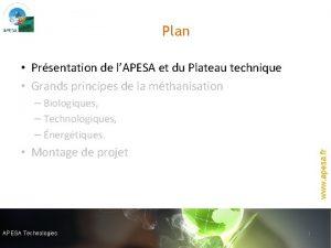Plan Prsentation de lAPESA et du Plateau technique