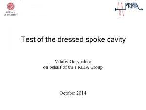 Test of the dressed spoke cavity Vitaliy Goryashko