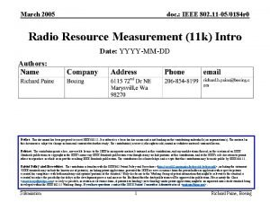 March 2005 doc IEEE 802 11 050184 r