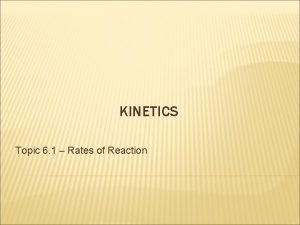 KINETICS Topic 6 1 Rates of Reaction KINETICS