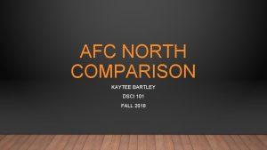 AFC NORTH COMPARISON KAYTEE BARTLEY DSCI 101 FALL