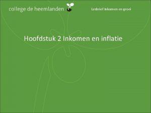 Lesbrief Inkomen en groei Hoofdstuk 2 Inkomen en