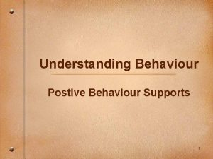 Understanding Behaviour Postive Behaviour Supports 1 Getting reconnected