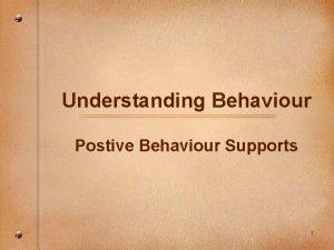 Understanding Behaviour Postive Behaviour Supports 1 Getting reconnected