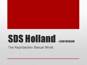 SDS Holland Tes Kepribadian Sesuai Minat John Holland