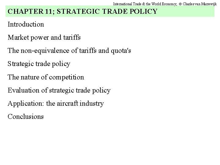 International Trade the World Economy Charles van Marrewijk