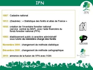 IFN 1807 Cadastre national 1912 Daubre Statistique des