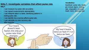 WALT Investigate variables that affect pulse rate WILF