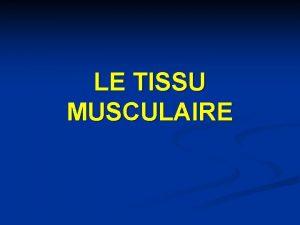LE TISSU MUSCULAIRE INTRODUCTION Le tissu musculaire est