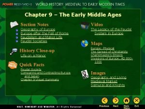 Chapter 9 The Early Middle Ages Section Notes