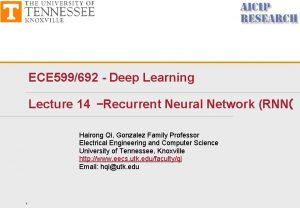 ECE 599692 Deep Learning Lecture 14 Recurrent Neural