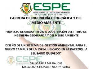 CARRERA DE INGENIERA GEOGRFICA Y DEL MEDIO AMBIENTE