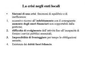La crisi negli enti locali 1 2 3