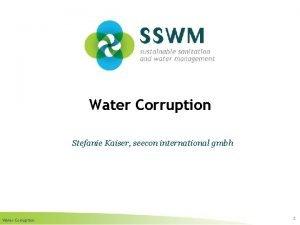 Water Corruption Stefanie Kaiser seecon international gmbh Water