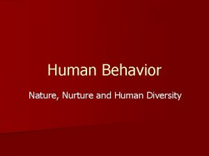 Human Behavior Nature Nurture and Human Diversity Our