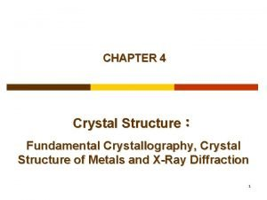 CHAPTER 4 Crystal Structure Fundamental Crystallography Crystal Structure