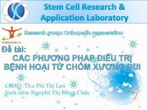 Stem Cell Research Application Laboratory Research group Orthopedic