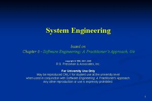 System Engineering based on Chapter 6 Software Engineering
