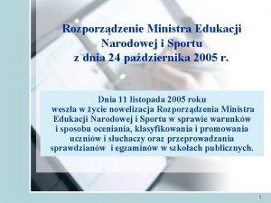 Rozporzdzenie Ministra Edukacji Narodowej i Sportu z dnia