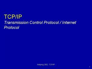 TCPIP Transmission Control Protocol Internet Protocol Netprog 2002