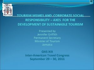 TOURISM MSMES AND CORPORATE SOCIAL RESPONSIBILITY AXES FOR