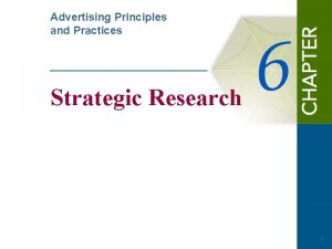 Advertising Principles and Practices Strategic Research 1 Questions