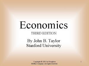 Economics THIRD EDITION By John B Taylor Stanford
