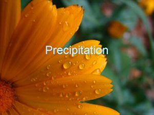 Precipitation Precipitation What is precipitation What are the