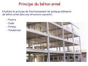 Principe du bton arm Etudions le principe de