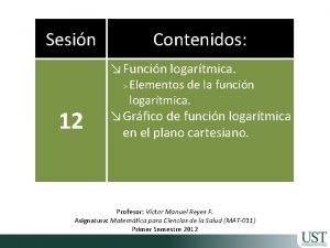 Sesin Contenidos Funcin logartmica 12 Elementos de la