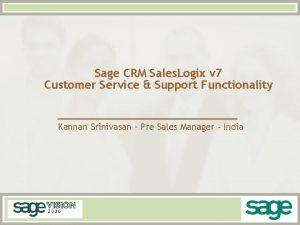 Sage CRM Sales Logix v 7 Customer Service