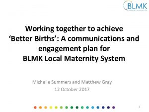Working together to achieve Better Births A communications