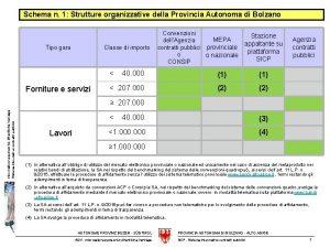 Schema n 1 Strutture organizzative della Provincia Autonoma