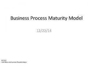 Business Process Maturity Model 122214 2014 Amit Mitra