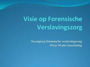 Visie op Forensische Verslavingszorg Stuurgroep forensische verslavingszorg What