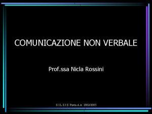 COMUNICAZIONE NON VERBALE Prof ssa Nicla Rossini S