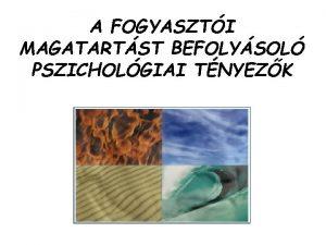 A FOGYASZTI MAGATARTST BEFOLYSOL PSZICHOLGIAI TNYEZK A percepci