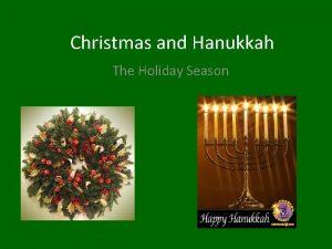 Christmas and Hanukkah The Holiday Season Starting Questions