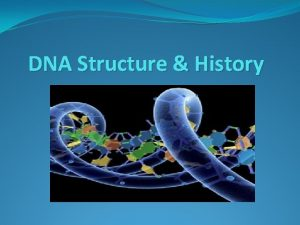 DNA Structure History DNA Background DNA stands for